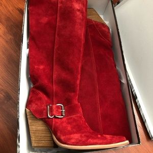Jeffrey Campbell Red Suede Boots